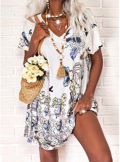 Animalske Udskriv Blomster Skiftekjoler Korte ærmer Midi Casual T-shirt Mode kjoler