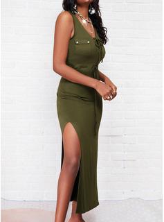 Einfarbig Zuschnüren Etui Ärmellos Maxi Lässige Kleidung Modekleider