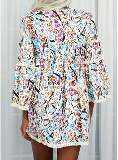 フローラル 印刷 レースアップ タッセル シフトドレス 3/4袖 フレアスリーブ ミニ カジュアル チュニック ファッションドレス