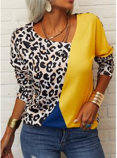 Leopardo Trozos de color Cuello en V Manga Larga Casual Blusas