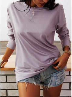 Solido Girocollo Maniche lunghe Casuale Reggiseno Tshirt