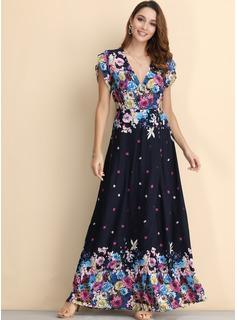 Blomster Print Kjole med A-linje Korte ærmer Maxi Casual Mode kjoler