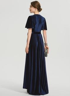 A-Line V-neck Asymmetrical Velvet Prom Dresses