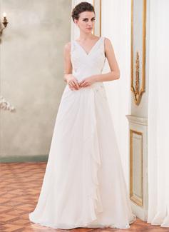 A-linjeformat V-ringning Court släp Chiffong Bröllopsklänning med Beading Applikationer Spetsar Paljetter Svallande Krås