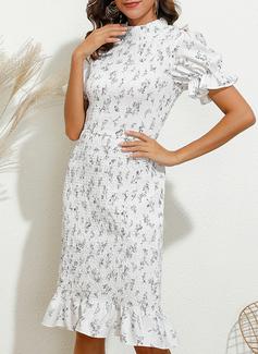Print Bodycon Puff Sleeves Short Sleeves Midi Elegant Pencil Dresses