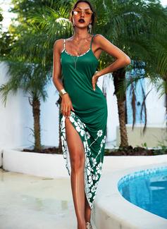 Blumen Druck A-Linien-Kleid Ärmellos Maxi Lässige Kleidung Urlaub Typ Modekleider