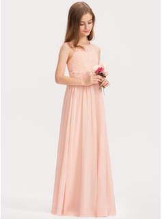 A-Line Scoop Neck Floor-Length Chiffon Lace Junior Bridesmaid Dress With Beading Sequins