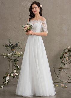 A-Line Off-the-Shoulder Floor-Length Tulle Wedding Dress