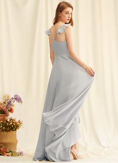 Sukienka Trapezowa Dekolt w kształcie litery V Szyfon Szyfon Modne Suknie Z Podział przednia