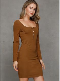 Solid Bodycon Lange ærmer Mini Casual Mode kjoler