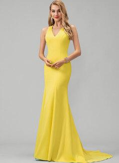 Trumpet/Mermaid V-neck Sweep Train Stretch Crepe Prom Dresses