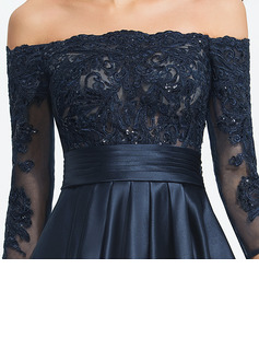 A-Line Off-the-Shoulder Asymmetrical Satin Evening Dress With Ruffle Sequins