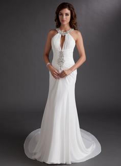 Trumpet/Mermaid Scoop Neck Chapel Train Chiffon Prom Dresses With Ruffle Beading Sequins