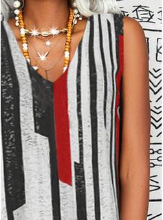 Impresión raya Vestidos sueltos Sin mangas Midi Casual Vestidos de moda