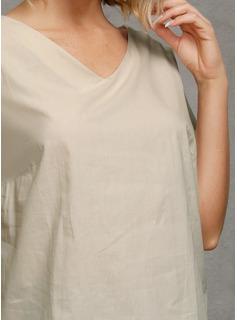Manga corta Algodón Escote en V Blusas