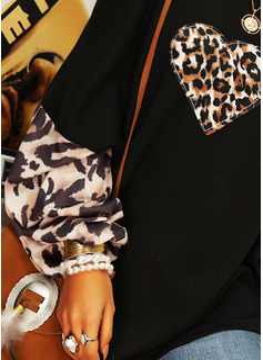 Leopard Print One Shoulder Lantern Sleeve Long Sleeves Casual Blouses