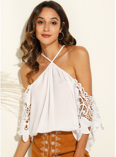Patchwork Lace Solid 3/4 Sleeves Polyester Cold Shoulder Blouses