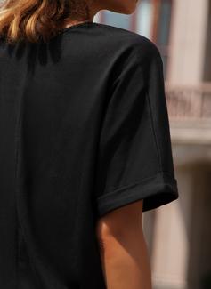 Leopard Color Block Shift Short Sleeves Midi Casual Tunic Dresses