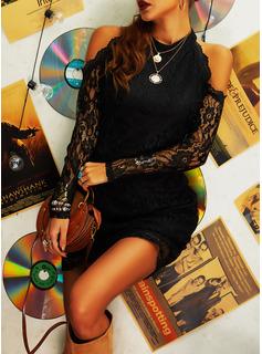 Blonder Solid Bodycon Kold-skulder ærmer Lange ærmer Mini Den lille sorte Party Mode kjoler