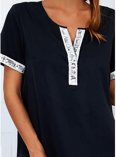 Print Shift Short Sleeves Mini Casual Dresses