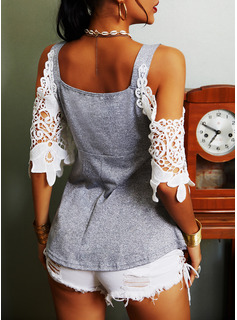 Lace Print Cold Shoulder 3/4 Sleeves Casual Blouses