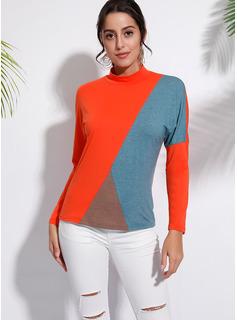 Color Block Stand krage Långa ärmar Fritids t-shirt
