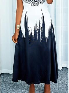 Impresión Degradada Vestido línea A Sin mangas Maxi Casual Vacaciones Patinador Tipo Vestidos de moda