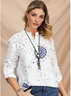 Długie rękawy Mieszanki bawełniane Litera V Koszula Bluzki Bluzki