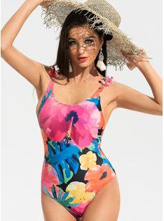 De una sola pieza Del chinlon poliéster Floral Estampado tropical De mujer Sí Ropa de baño