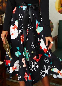 Print A-linjeklänning Långa ärmar Midi Party tappning utformar Jul skater Modeklänningar