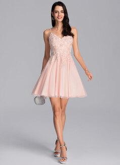 Трапеция V-образный Мини-платье Тюль Платье для Встречи Выпускников с развальцовка блестки
