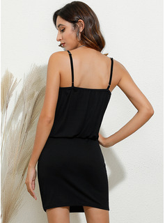 Solid Bodycon Sleeveless Mini Casual Vacation Type Dresses