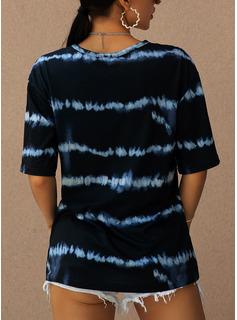 Tie Dye Scollatura a V Maniche corte Casuale Camicie