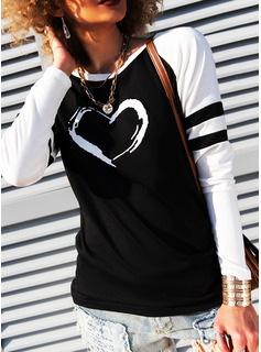 Print Round Neck Long Sleeves Casual T-shirt
