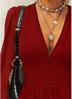 Solid Kjole med A-linje Lange ærmer Puf-ærmer Mini Den lille sorte Casual skater Mode kjoler