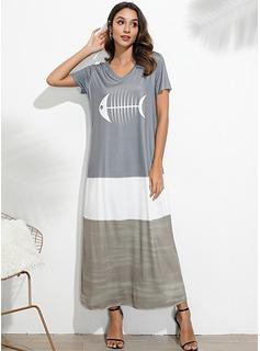 Maxi Litera V Poliester/Mieszanki bawełniane Wydrukować Krótkie Rękawy Modne Suknie