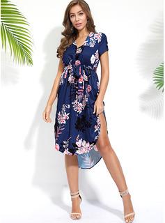 Asymmetrisch V-Ausschnitt Polyester Kurze Ärmel Druck/Blumen Modekleider