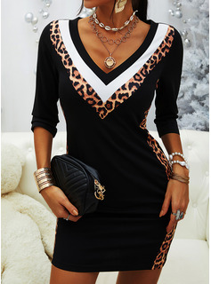 Leopard Color Block Bodycon Long Sleeves Mini Casual Dresses
