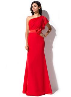 Sheath/Column One-Shoulder Floor-Length Chiffon Evening Dress With Flower(s) Cascading Ruffles