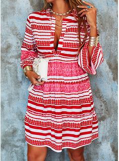 Druck gestreift Etuikleider Schlagärmel Lange Ärmel Mini Boho Lässige Kleidung Urlaub Tunika Modekleider