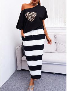 leopardo A righe A trapezio Maniche corte Midi Casuale Vestiti di moda