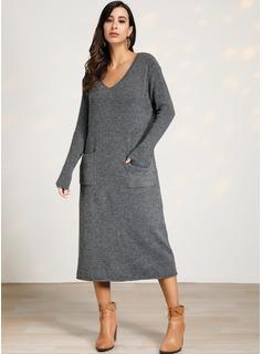 Punto De Cable Sólido poliéster Cuello en V Suéter Vestidos De Suéter Suéteres