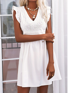 Lace Solid A-line Sleeveless Mini Little Black Casual Skater Dresses