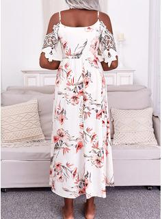 Floral Impresión Vestido línea A Mangas 1/2 Maxi Casual Vacaciones Patinador Vestidos de moda