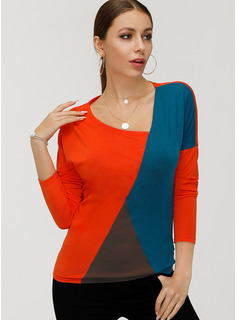 Farbblock Lange Ärmel Baumwolle Polyester V-Ausschnitt T-shirt Blusen