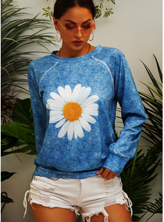 Print Floral Long Sleeves Polyester Round Neck T-shirt Blouses