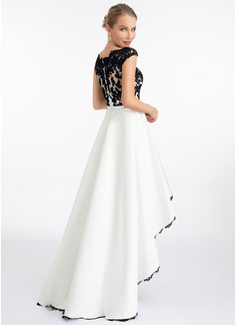 A-Line Scoop Neck Asymmetrical Satin Wedding Dress