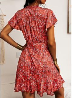 印刷 シースドレス 半袖 ミニ カジュアル 休暇 ファッションドレス