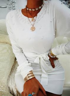 Solid Bodycon Lange ærmer Mini Elegant Mode kjoler