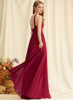 A-line V-Neck Sleeveless Maxi Back Details Romantic Sexy Dresses